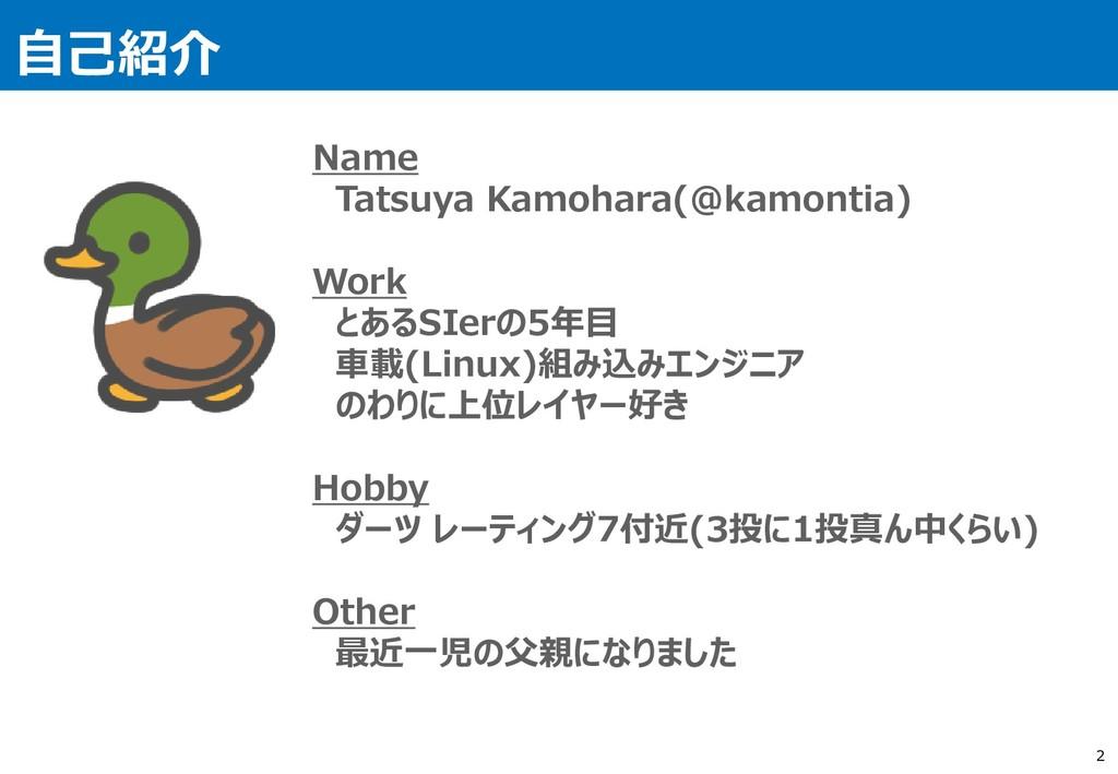 自己紹介 2 Name Tatsuya Kamohara(@kamontia) Work とあ...