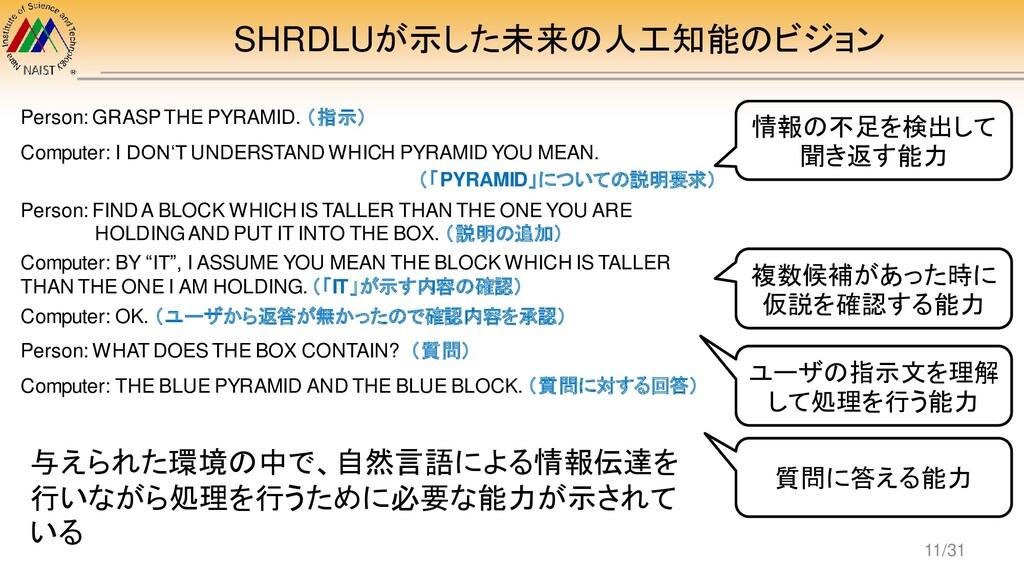 SHRDLUが示した未来の人工知能のビジョン Person: GRASP THE PYRAMI...