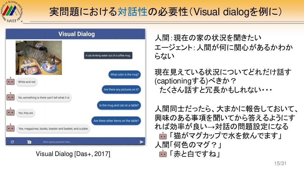 実問題における対話性の必要性(Visual dialogを例に) Visual Dialog ...