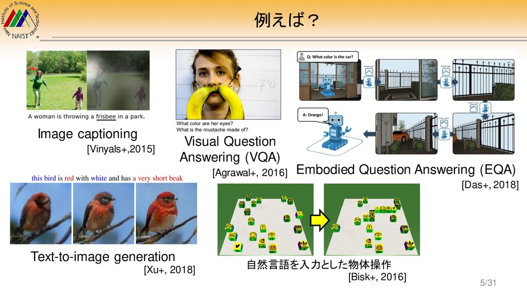 例えば? Image captioning Visual Question Answering...