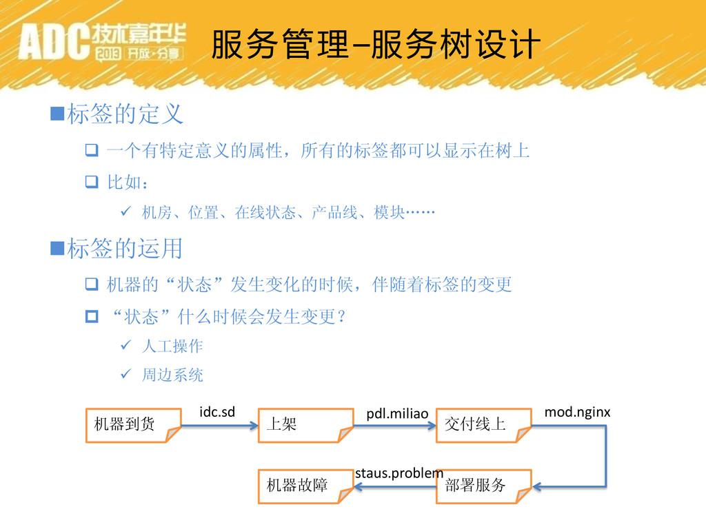 服务管理–服务树设计 标签的定义  一个有特定意义的属性,所有的标签都可以显示在树上  ...