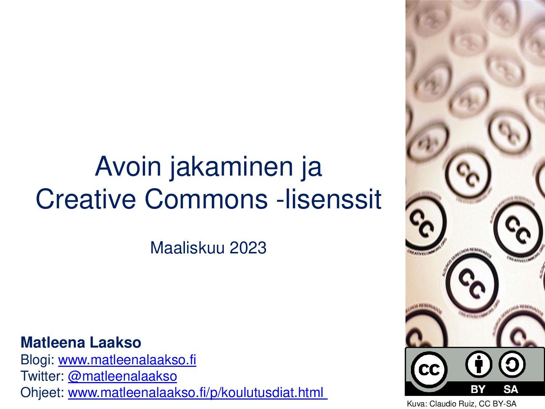 Avoin jakaminen ja Creative Commons -lisenssit ...