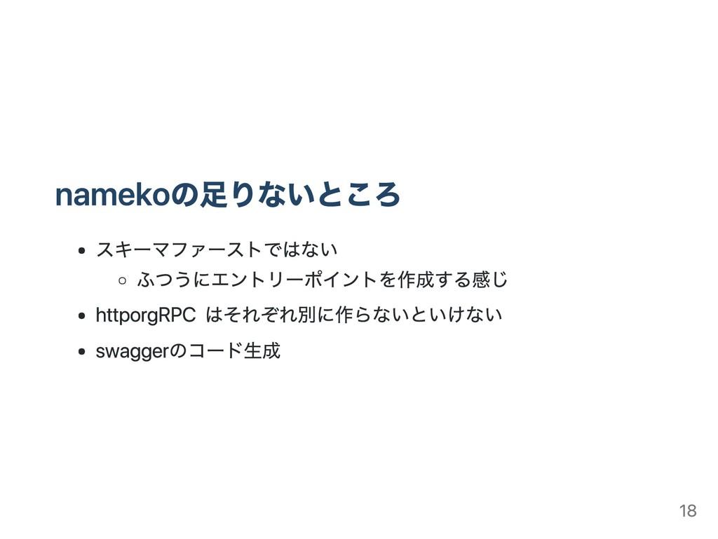 namekoの足りないところ スキーマファーストではない ふつうにエントリーポイントを作成する...