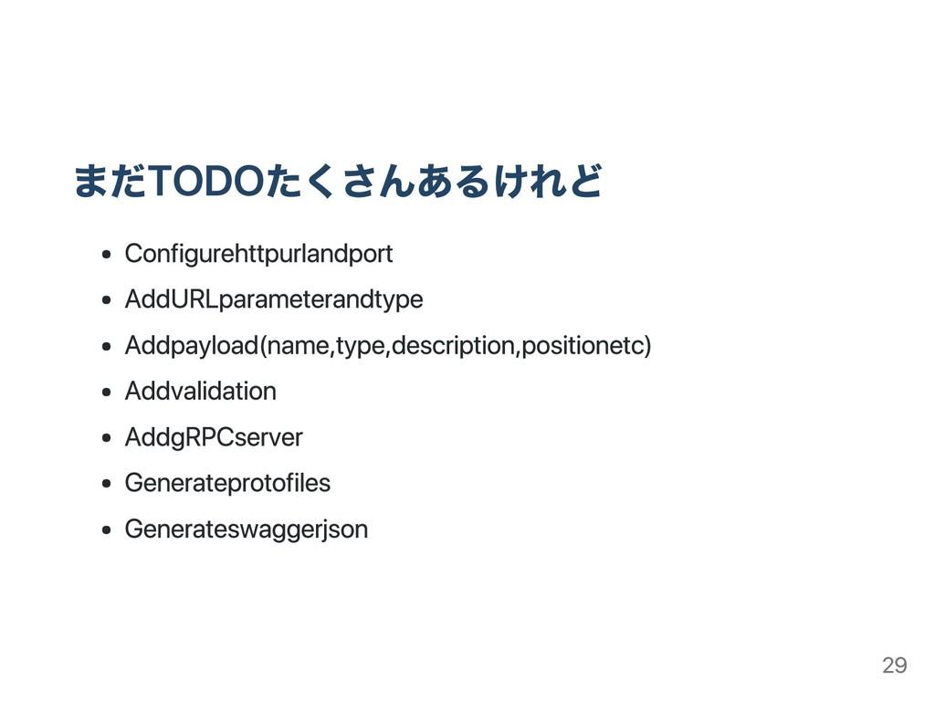 まだTODOたくさんあるけれど Configure http url and port Add...