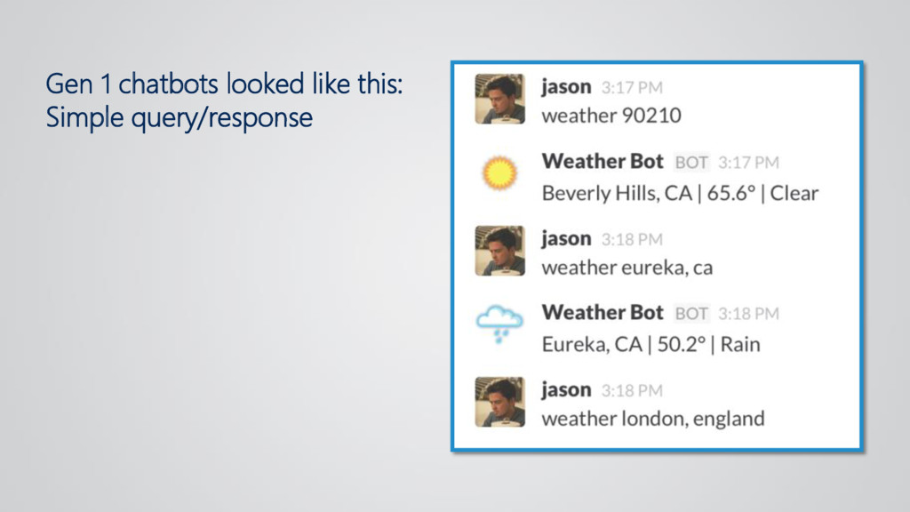 Gen 1 chatbots looked like this: Simple query/r...