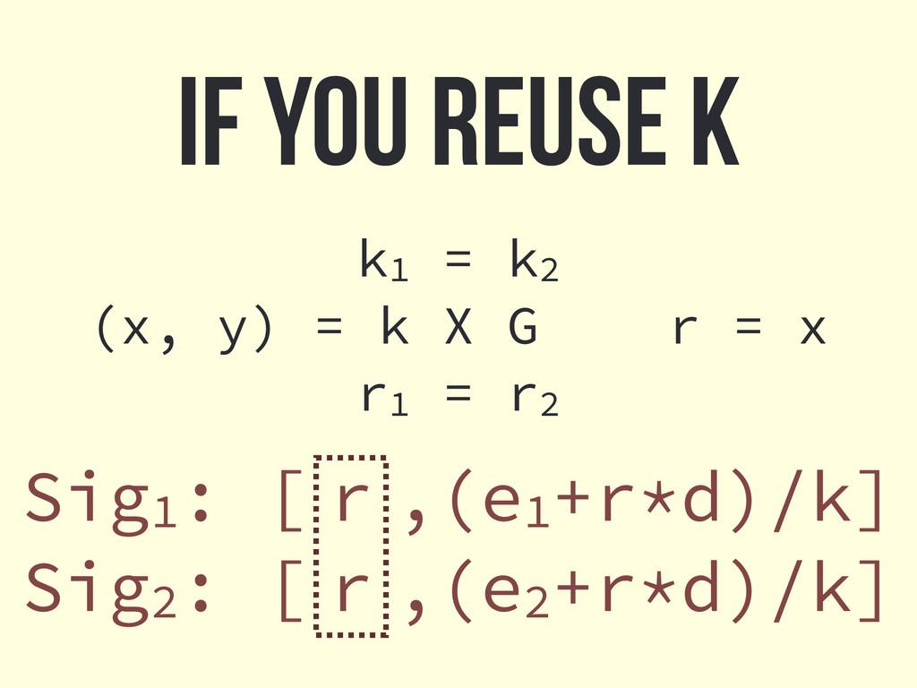 If you reuse k Sig1: [ r ,(e1+r*d)/k] Sig2: [ r...
