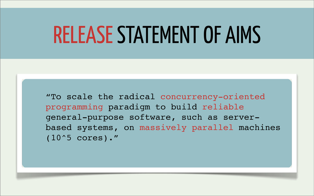 "RELEASE STATEMENT OF AIMS ""To scale the radical..."