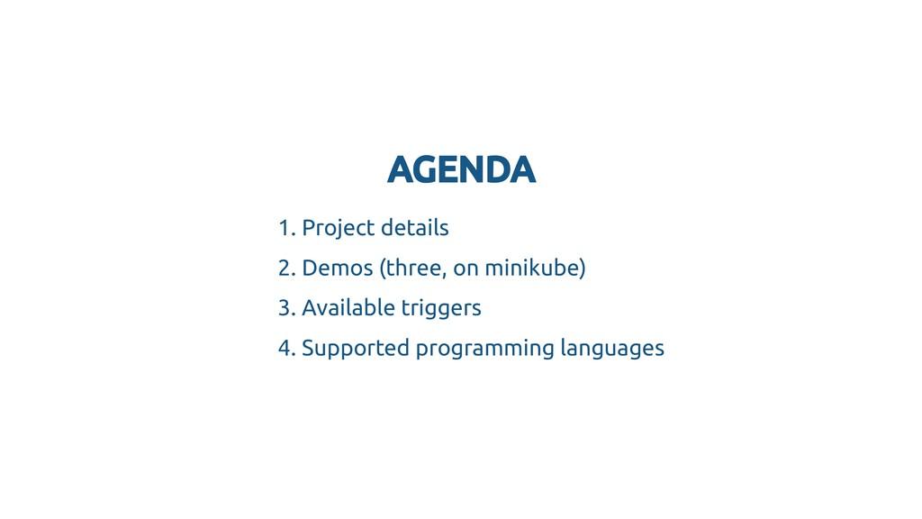 AGENDA AGENDA 1. Project details 2. Demos (thre...