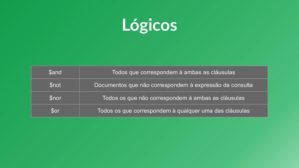 Lógicos $and Todos que correspondem à ambas as ...