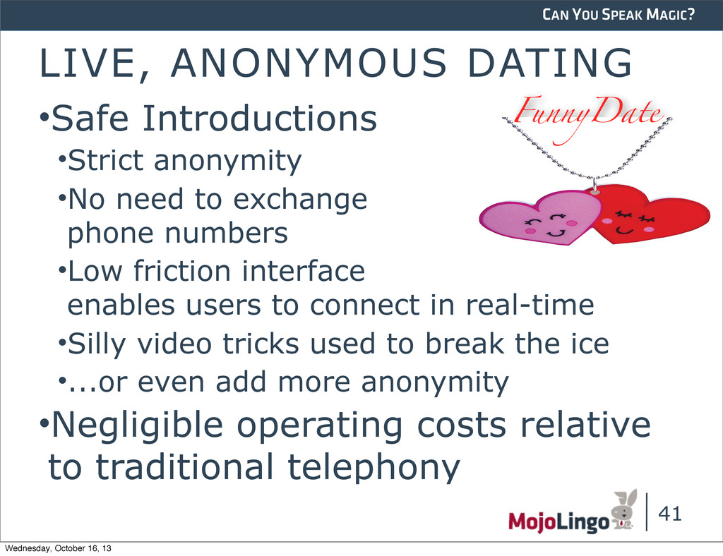 CAN YOU SPEAK MAGIC? LIVE, ANONYMOUS DATING •Sa...