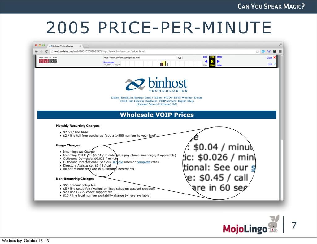 CAN YOU SPEAK MAGIC? 2005 PRICE-PER-MINUTE 7 We...
