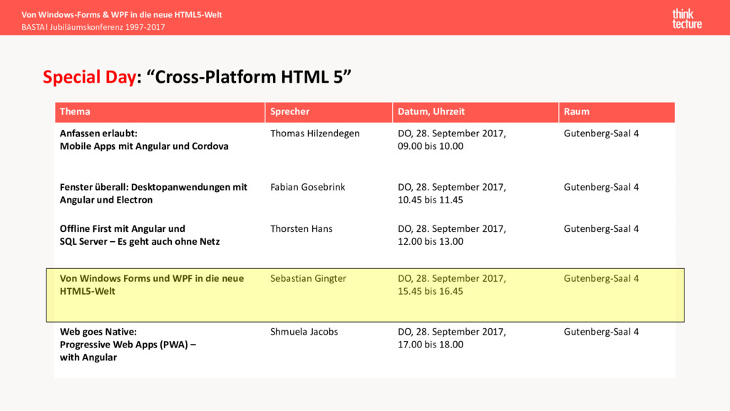 "Special Day: ""Cross-Platform HTML 5"" Thema Spre..."