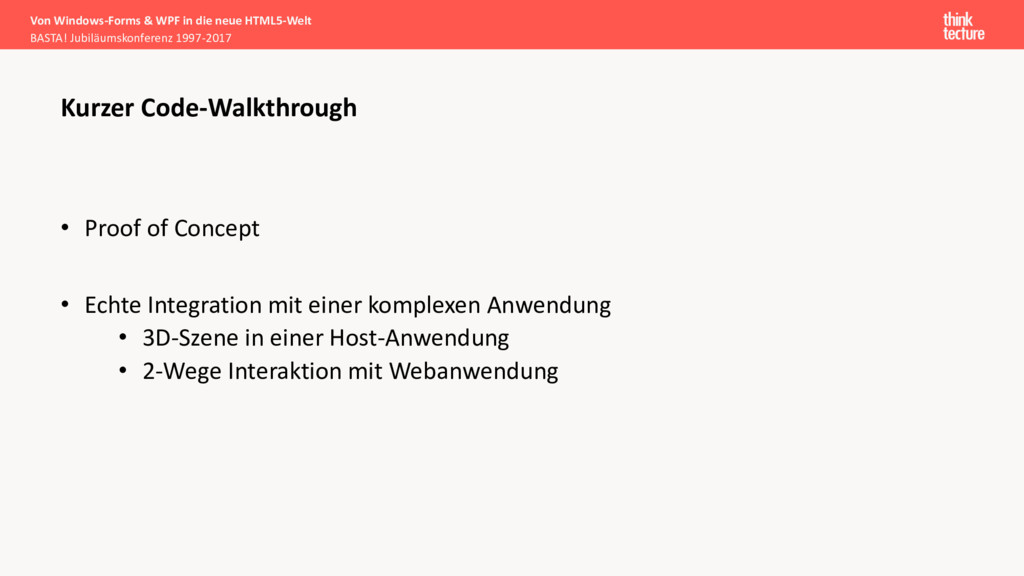 • Proof of Concept • Echte Integration mit eine...