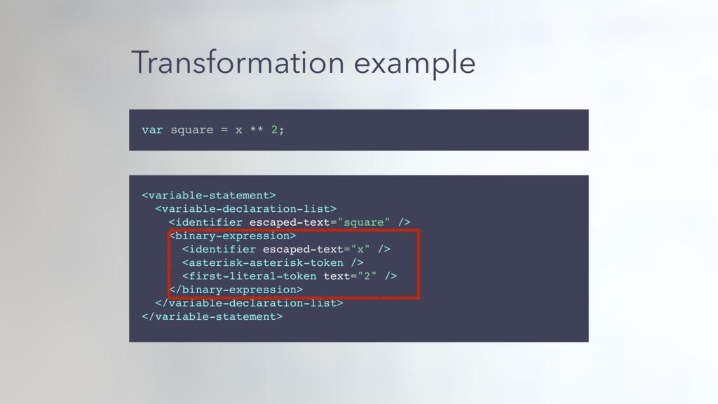 Transformation example var square = x ** 2; <va...
