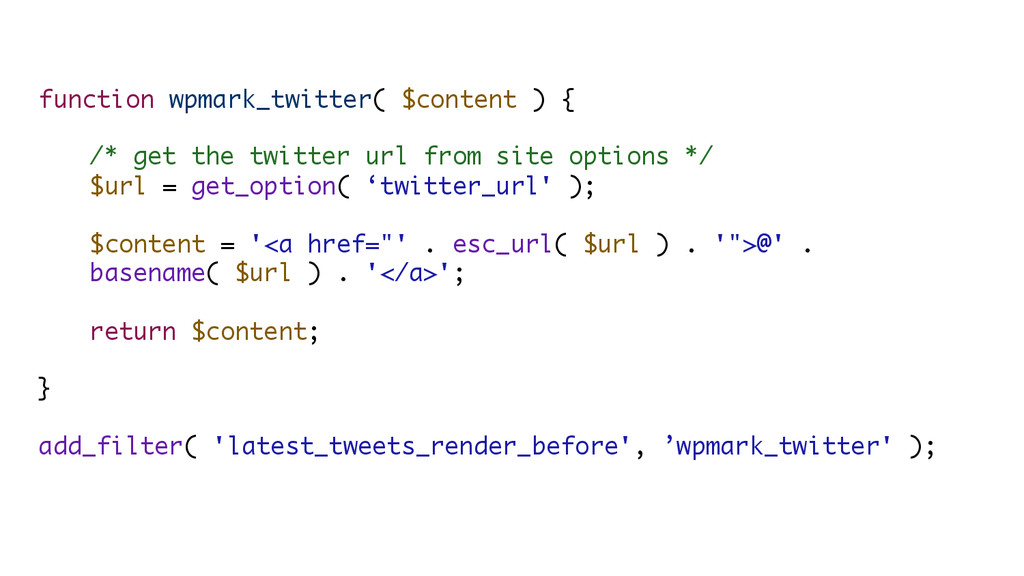 function wpmark_twitter( $content ) { /* get th...