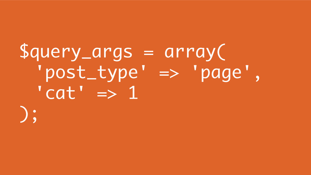 $query_args = array( 'post_type' => 'page', 'ca...
