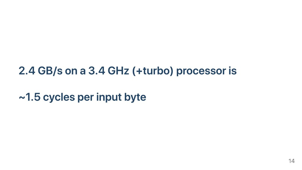 2.4 GB/s on a 3.4 GHz (+turbo) processor is ~1....