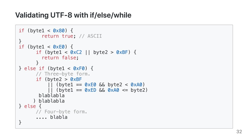 Validating UTF-8 with if/else/while if (byte1 <...