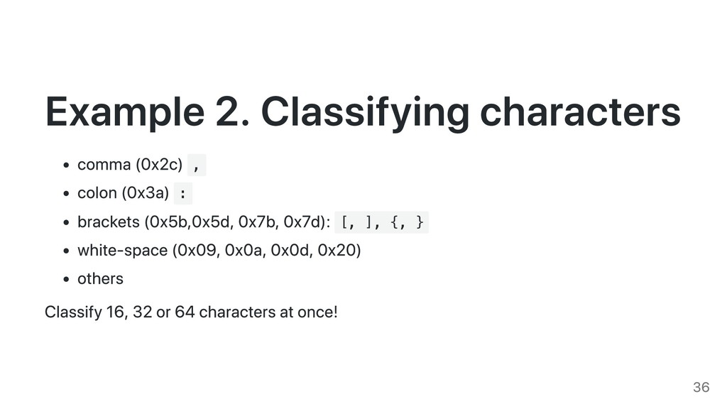 Example 2. Classifying characters comma (0x2c) ...