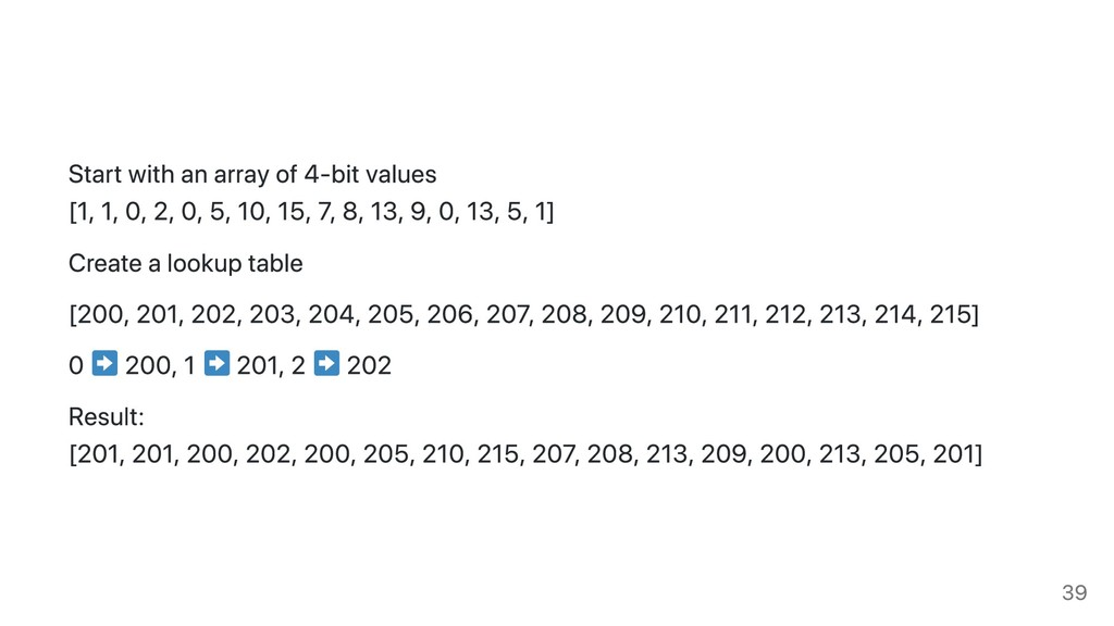 Start with an array of 4-bit values [1, 1, 0, 2...