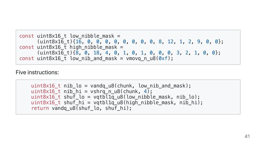 const uint8x16_t low_nibble_mask = (uint8x16_t)...