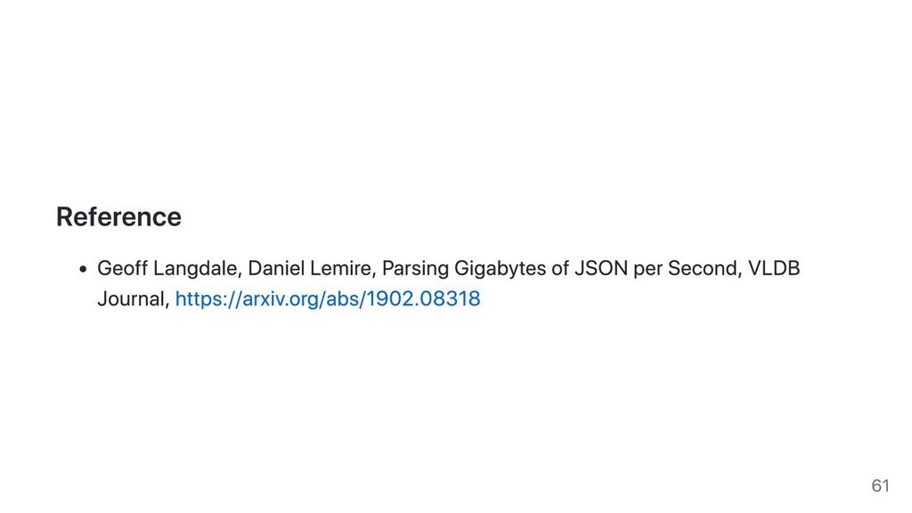 Reference Geoff Langdale, Daniel Lemire, Parsin...