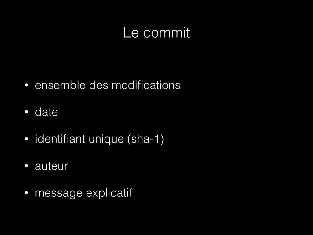 Le commit • ensemble des modifications • date • ...