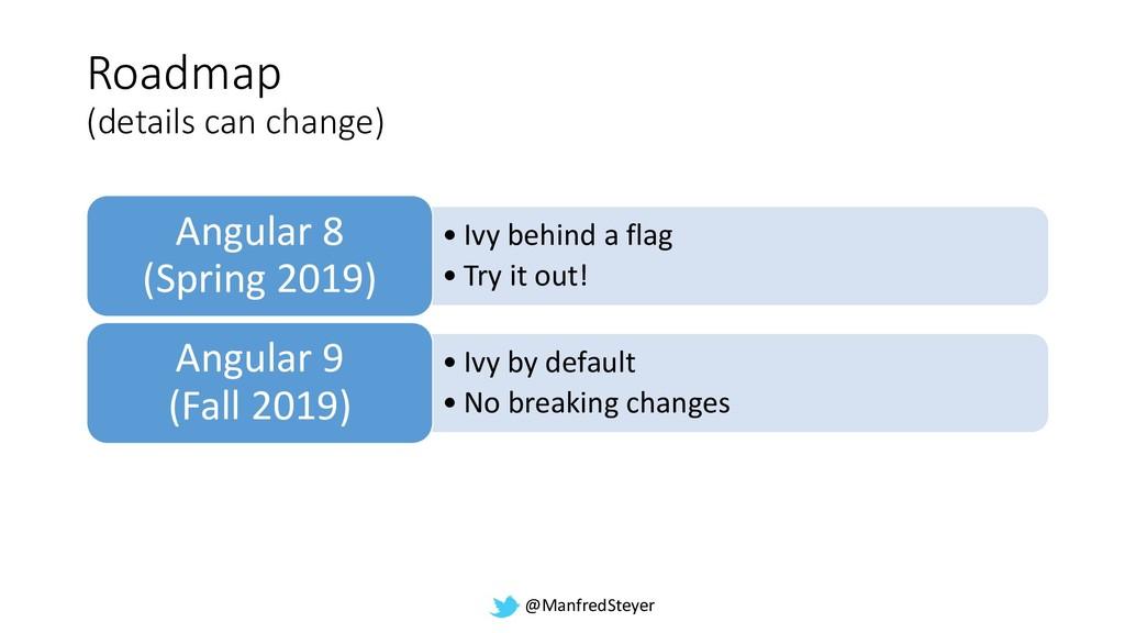 @ManfredSteyer Roadmap (details can change) • I...