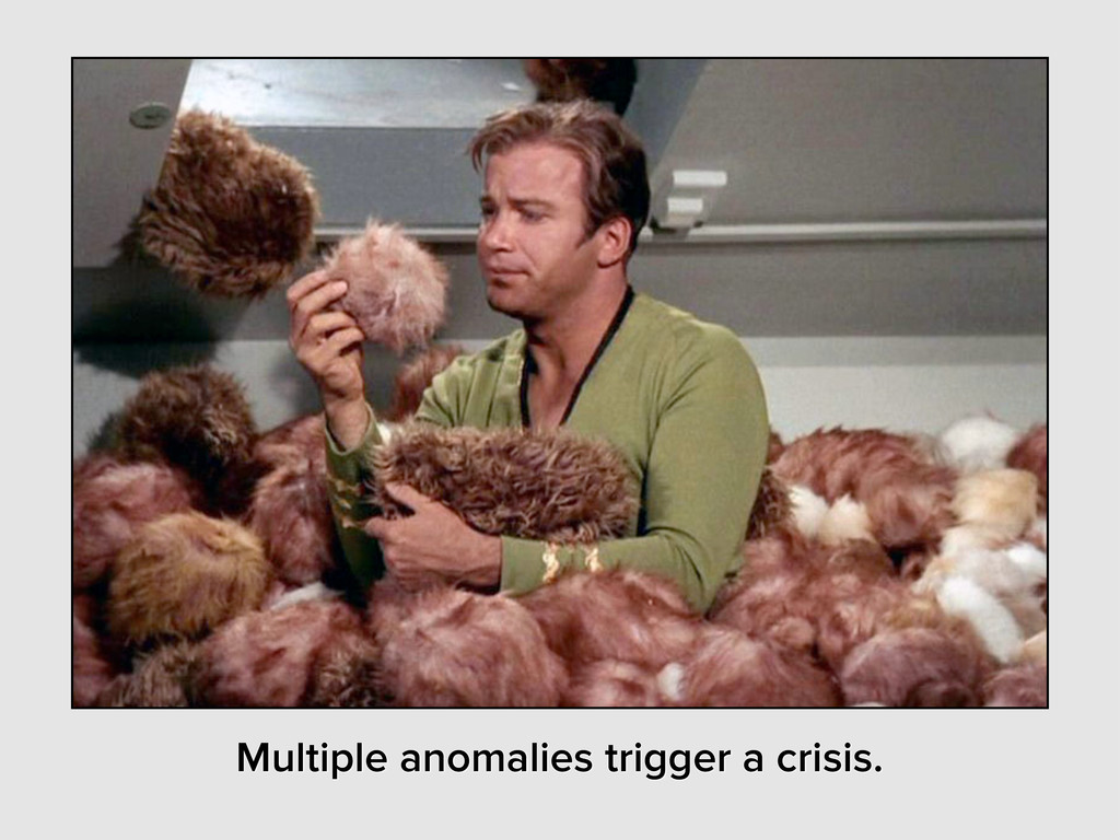 Multiple anomalies trigger a crisis.