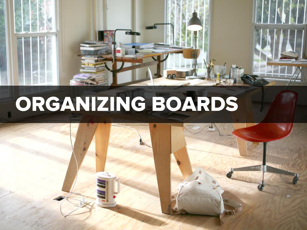 ORGANIZING BOARDS