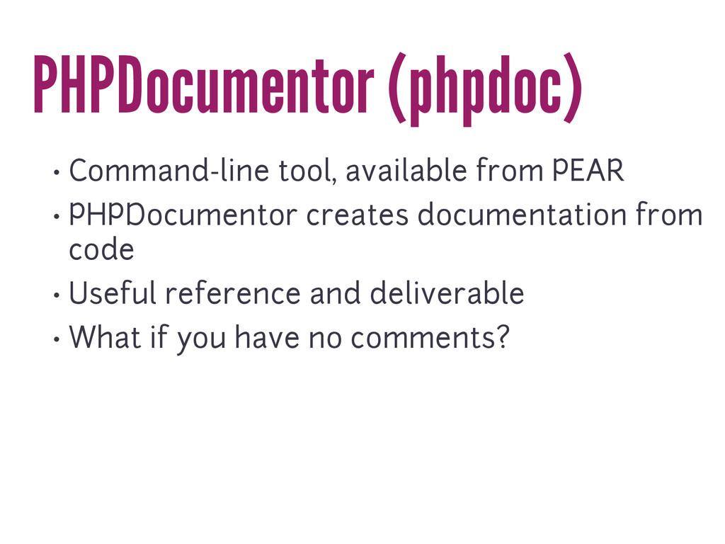 PHPDocumentor (phpdoc) • Command-line tool, ava...