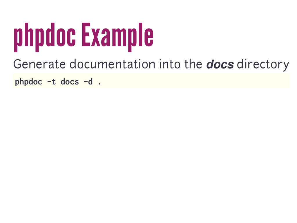 phpdoc Example Generate documentation into the ...