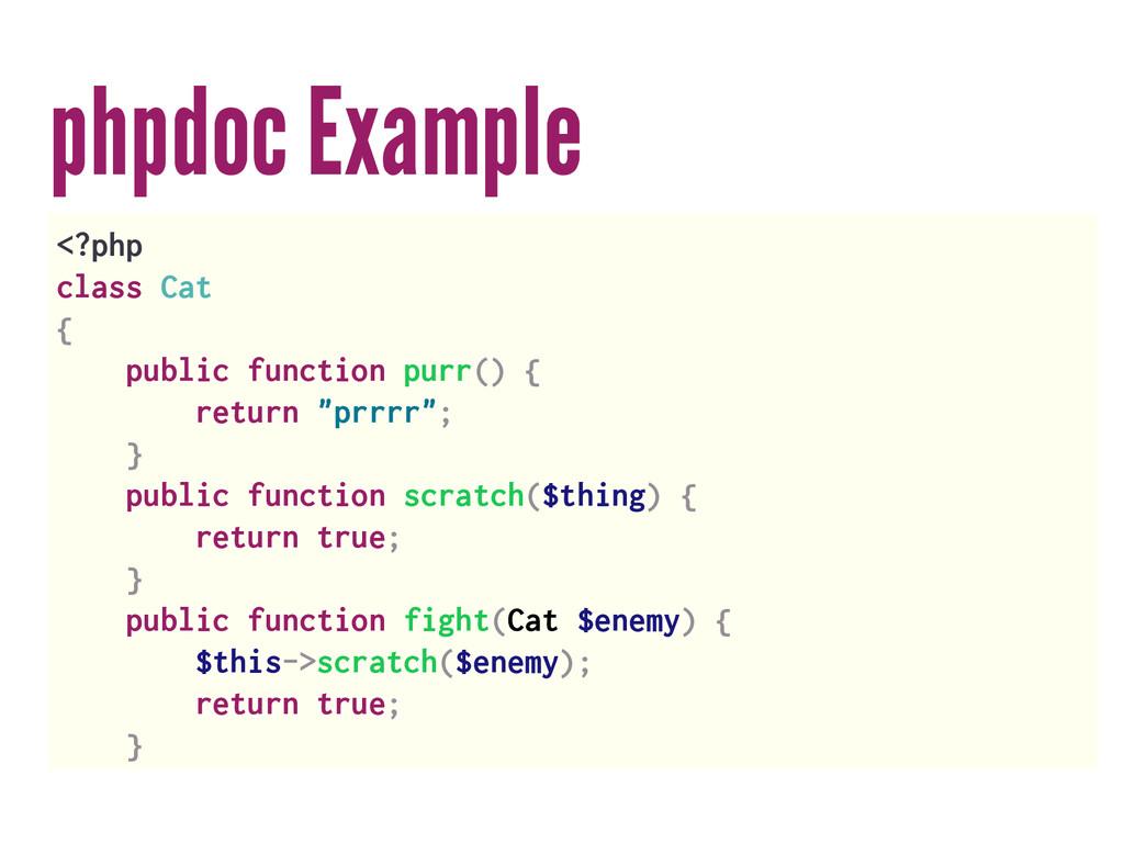 phpdoc Example <?php class Cat { public functio...