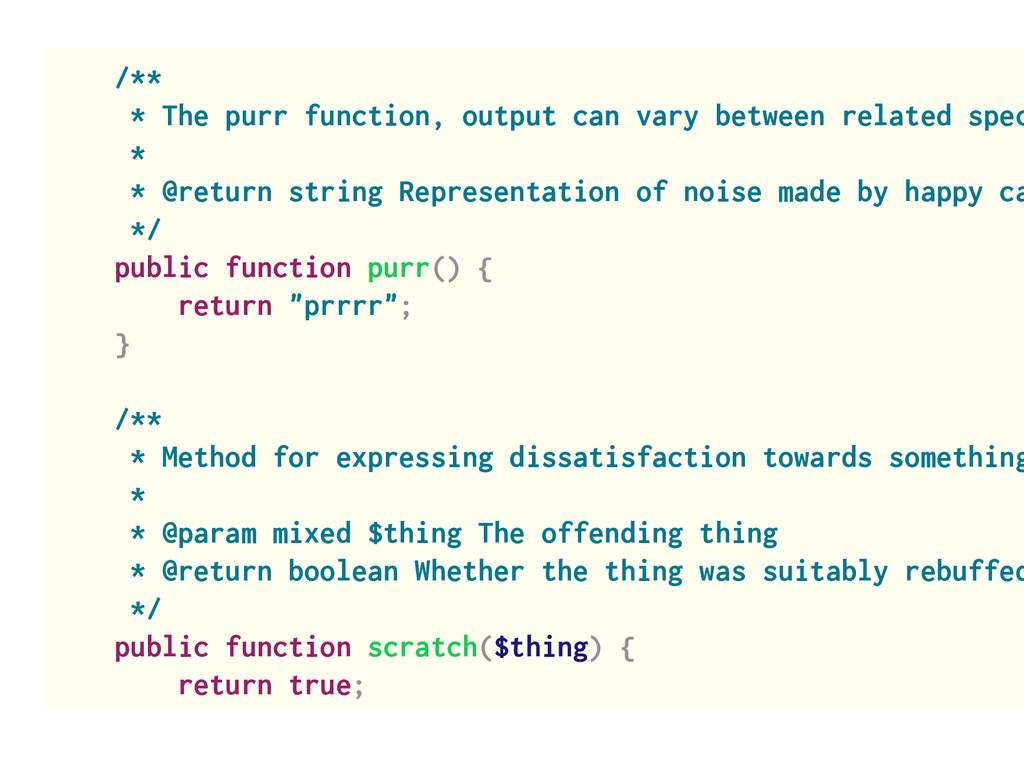 /** * The purr function, output can vary betwee...