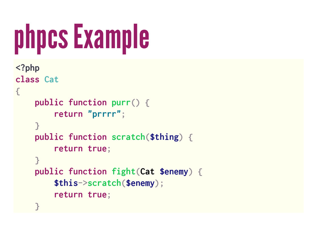 phpcs Example <?php class Cat { public function...