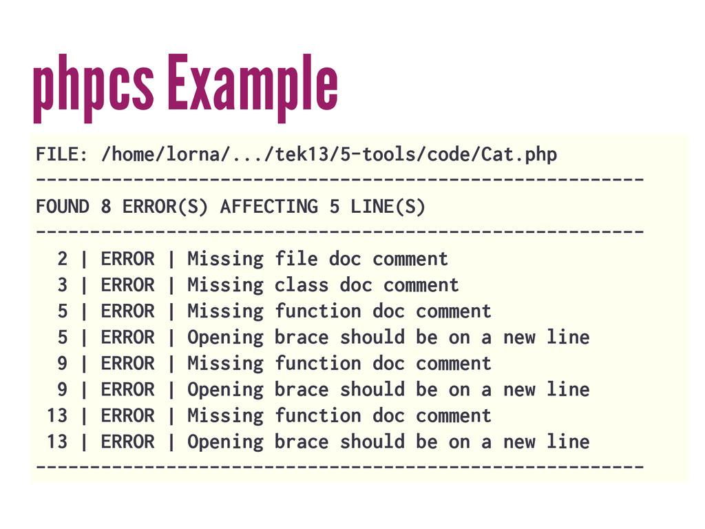 phpcs Example FILE: /home/lorna/.../tek13/5-too...