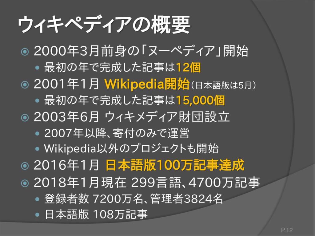 ウィキペディアの概要  2000年3月前身の「ヌーペディア」開始  最初の年で完成した記事...
