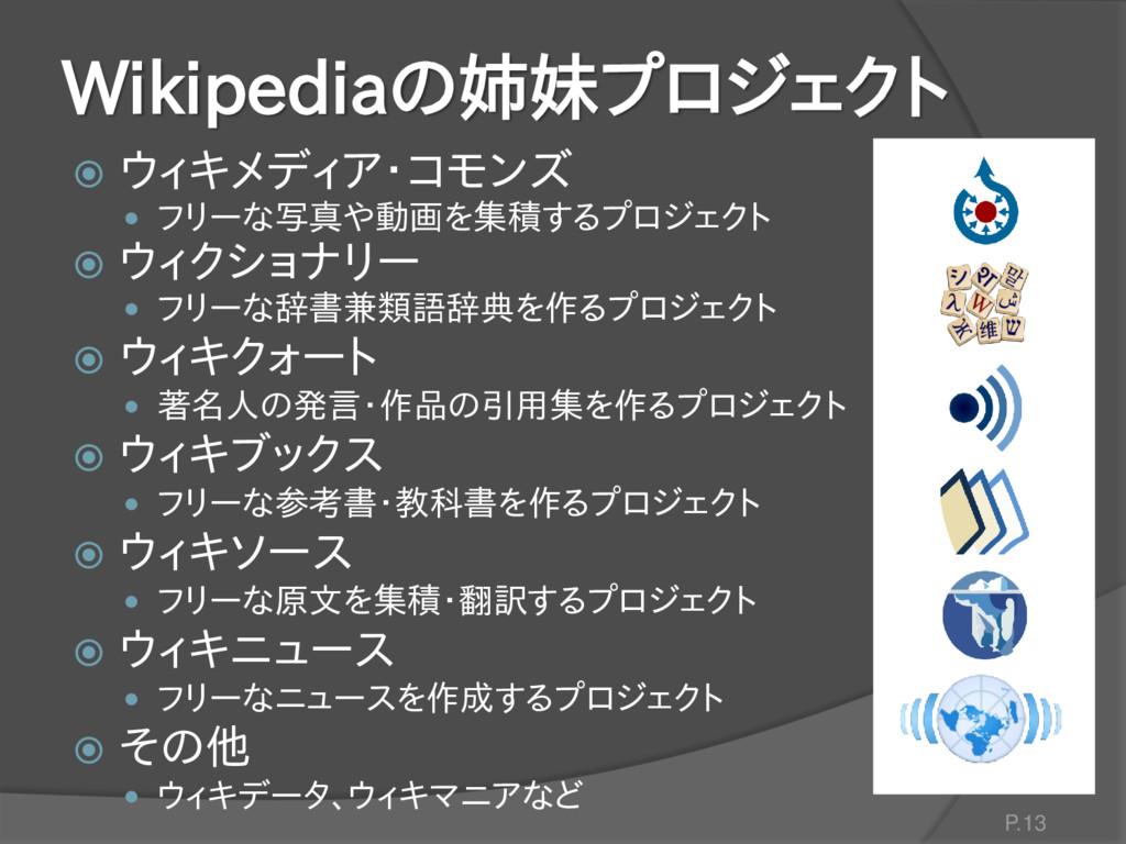 Wikipediaの姉妹プロジェクト  ウィキメディア・コモンズ  フリーな写真や動画を集...