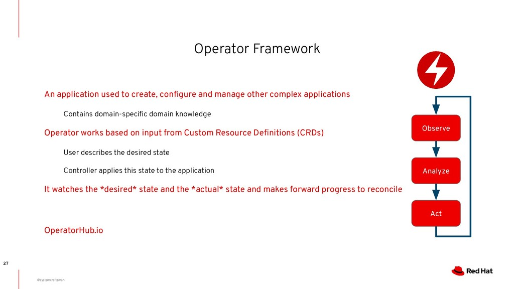 Operator Framework 27 An application used to cr...