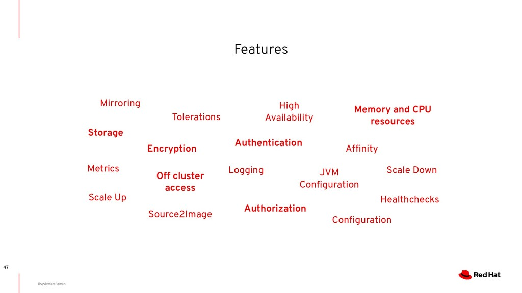 Features 47 Tolerations Memory and CPU resource...