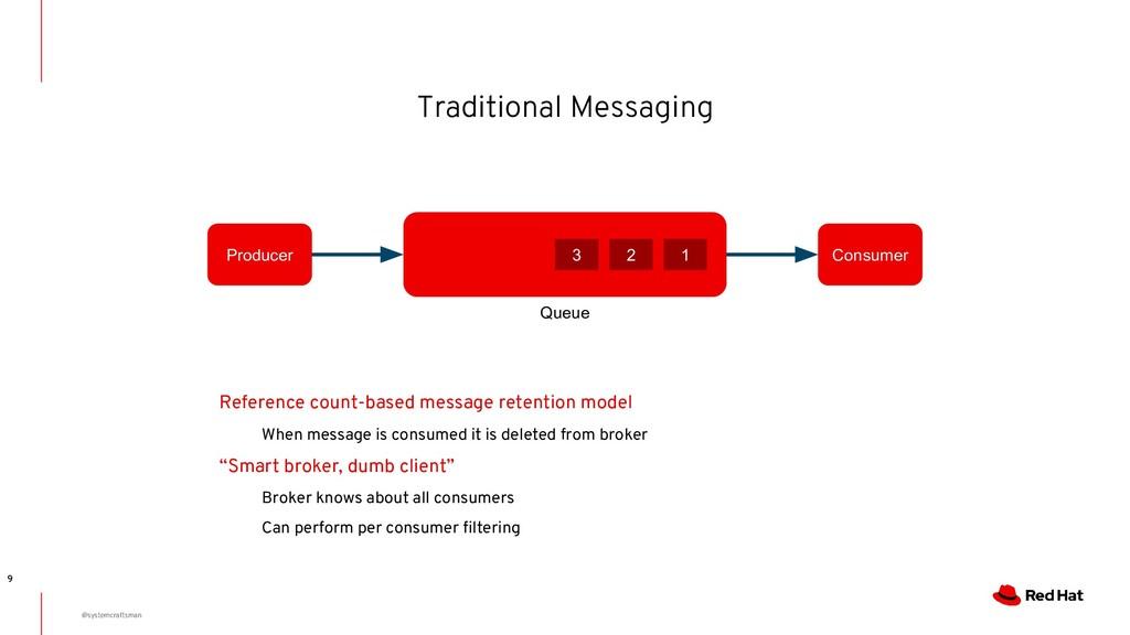 Traditional Messaging 9 Queue Producer Consumer...