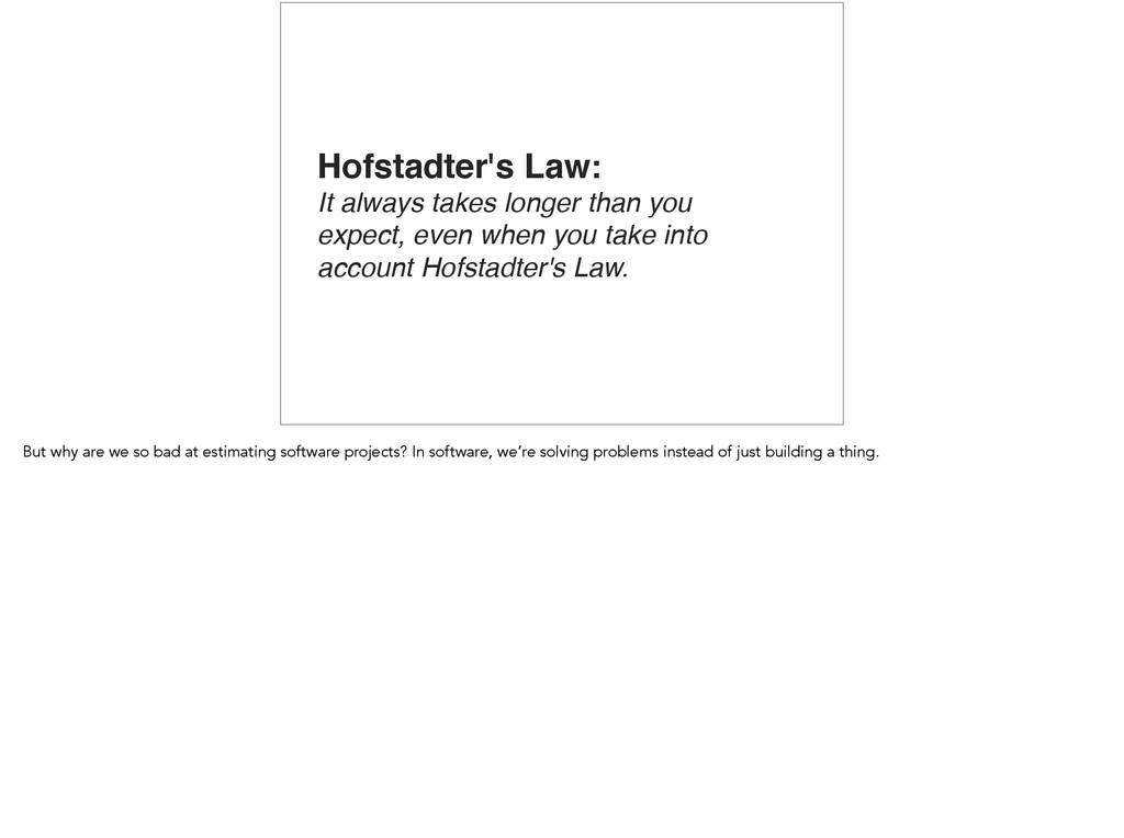 Hofstadter's Law: It always takes longer than y...