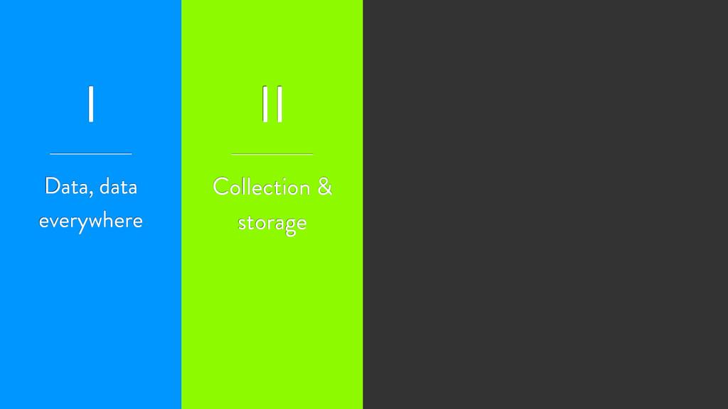 I II Collection & storage Data, data everywhere