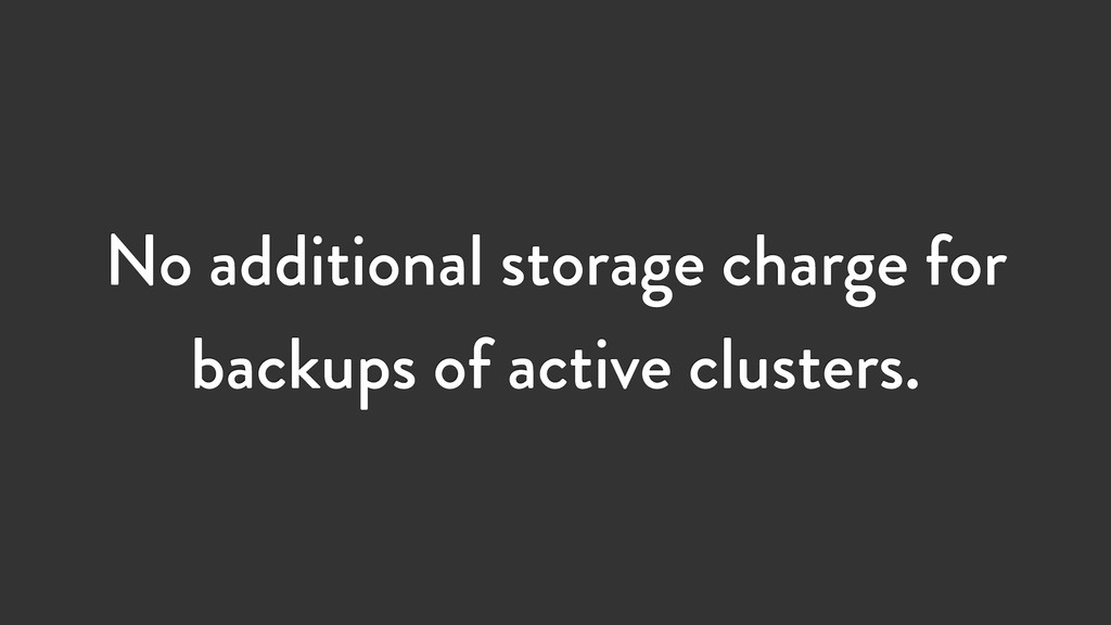 No additional storage charge for backups of act...