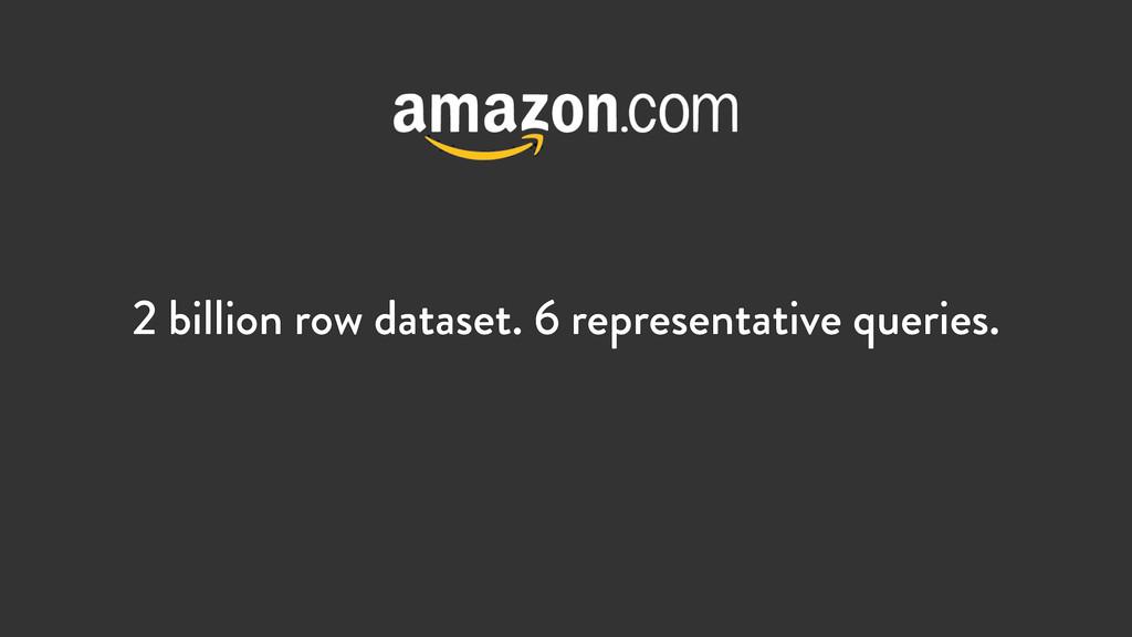 2 billion row dataset. 6 representative queries.