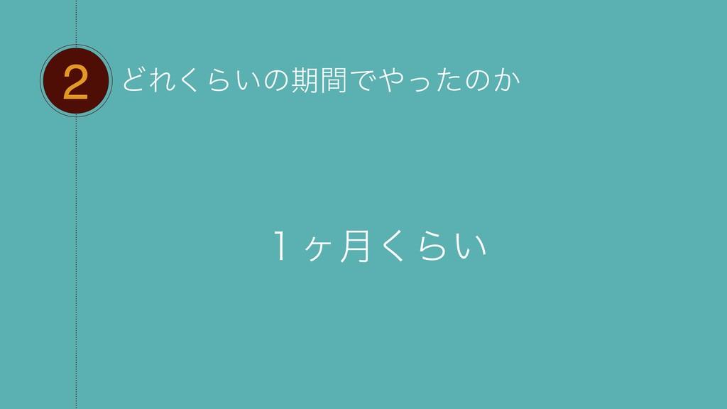 2 ͲΕ͘Β͍ͷظؒͰͬͨͷ͔ ̍ϲ݄͘Β͍