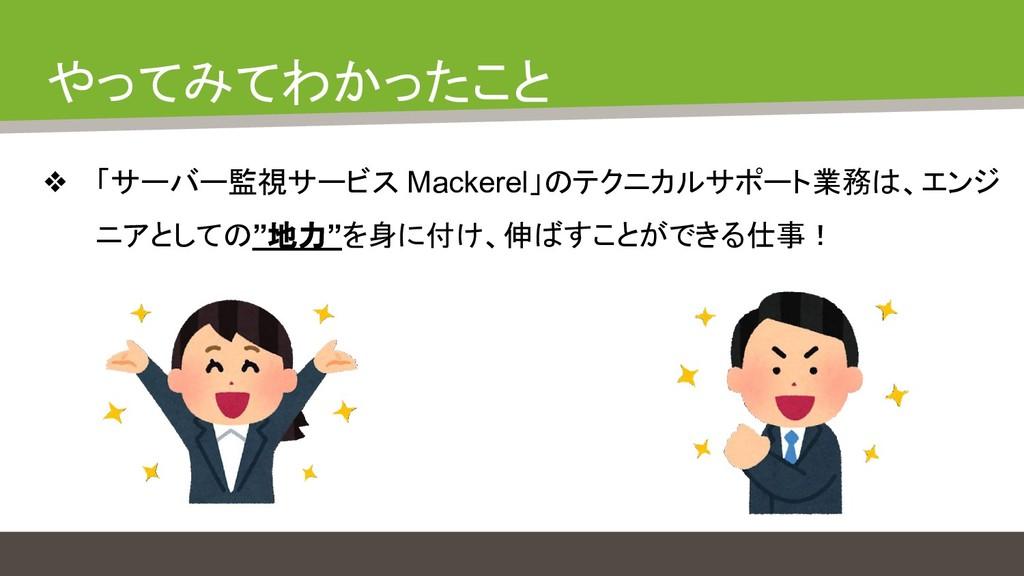 やってみてわかったこと ❖ 「サーバー監視サービス Mackerel」のテクニカルサポート業務...