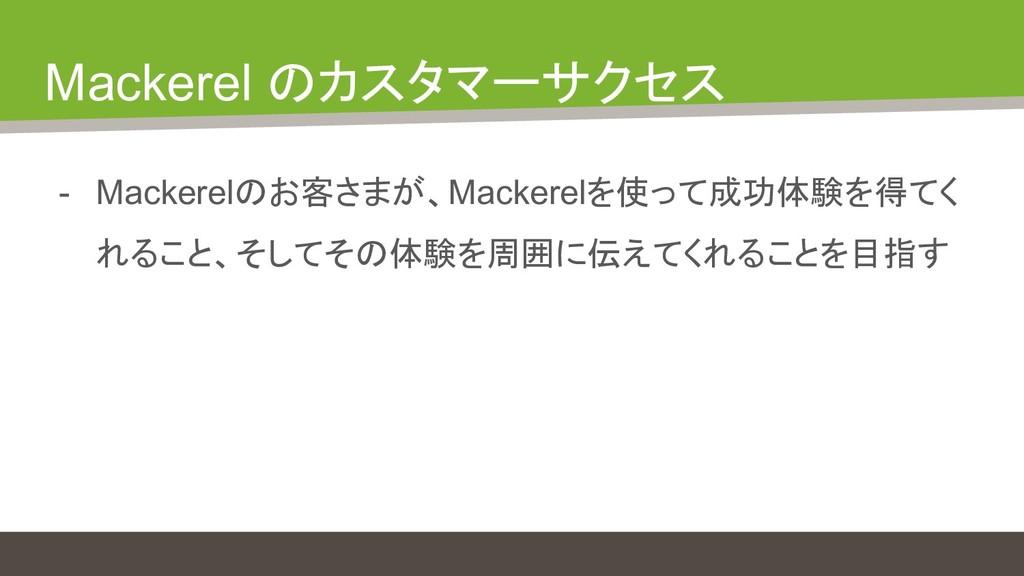 Mackerel のカスタマーサクセス - Mackerelのお客さまが、Mackerelを使...