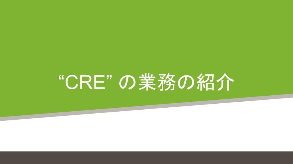 """""""CRE"""" の業務の紹介"""