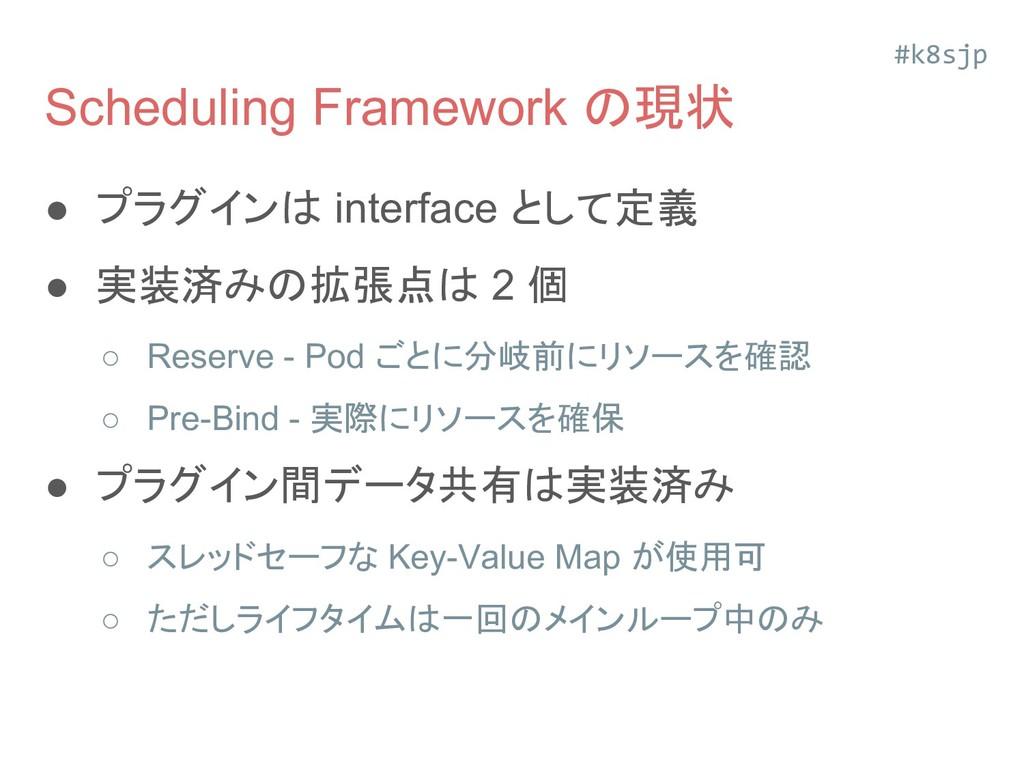 Scheduling Framework の現状 ● プラグインは interface として...